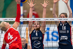 21-04-2019 NED: VC Sneek - Sliedrecht Sport, Sneek<br /> Final Round 2 of 5 Eredivisie volleyball - Sliedrecht Sport win 3-0 / Hester Jasper #4 of VC Sneek, Jolijn de Haan #4 of Sliedrecht Sport, Carlijn Ghijssen-Jans #10 of Sliedrecht Sport