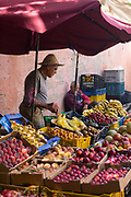 Fruit and veg seller, Marrakesh, Morocco, 2016–04-16.