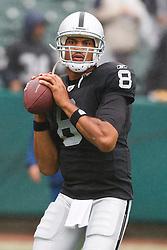 November 7, 2010; Oakland, CA, USA;  Oakland Raiders quarterback Jason Campbell (8) warms up before the game against the Kansas City Chiefs at Oakland-Alameda County Coliseum. Oakland defeated Kansas City 23-20 in overtime.