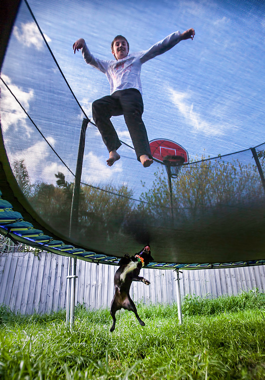A boy &amp; a small dog have fun jumping with a trampoline This photograph can be used for non commercial uses with attribution. Credit: Craig Sillitoe Photography / http://www.csillitoe.com<br />