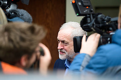 © Licensed to London News Pictures. 14/01/2017. London, UK. Labour Party leader JEREMY CORBYN surrounded by media while leaving the venue after delivering a speech at the Fabian Society conference in London on January 14, 2016. Corbyn has come under further pressure as leader following the resignation of Stoke-on-Trent, Tristram Hunt. Photo credit: Ben Cawthra/LNP