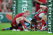 """Kurtley Beale knocks on while crossing under the posts for the Waratahs during action from the Super 15 Rugby Union match played between the Queensland Reds and the NSW Waratahs at Suncorp Stadium (Brisbane, Australia) on Saturday 23rd April 2011<br /> <br /> Conditions of Use : NO AGENTS ~ This image is intended for Editorial use only (news or commentary, print or electronic) - Required Images Credit """"Steven Hight - Aura Images"""""""