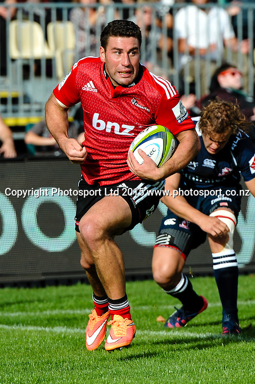 Kieron Fonotia of the Crusaders scores a try during the Super Rugby match: Crusaders v Lions at AMI Stadium, Christchurch, New Zealand, 14 March 2015. Copyright Photo: John Davidson / www.Photosport.co.nz