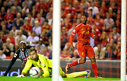 27.08.2013, Anfield, Liverpool, ENG, League Cup, FC Liverpool vs Notts County FC, 2. Runde, im Bild Liverpool's Daniel Sturridge scores the third goal against Notts County during the English League Cup 2nd round match between Liverpool FC and Notts County FC, at Anfield, Liverpool, Great Britain on 2013/08/27. EXPA Pictures © 2013, PhotoCredit: EXPA/ Propagandaphoto/ David Rawcliffe<br /> <br /> ***** ATTENTION - OUT OF ENG, GBR, UK *****