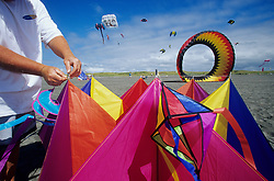 Setting up a kite at annual festival, Washington State Kite Festival, Long Beach, Washington