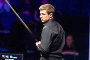 Action from the World Snooker 19.com Scottish Open Final Mark Selby vs Jack Lisowski at the Emirates Arena, Glasgow, Scotland on 15 December 2019.<br /> <br /> Jack Lisowski gets back to the table to try and take the 2nd frame of the night