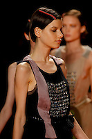 Tati Cotliar walks the runway wearing Phillip Lim women Spring 2010 collection during Mercedes-Benz fashion week on September 16, 2009.