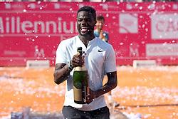 May 6, 2018 - Estoril, Portugal - Frances Tiafoe of US celebrates after lost the Millennium Estoril Open ATP 250 tennis tournament final against Joao Sousa of Portugal, at the Clube de Tenis do Estoril in Estoril, Portugal on May 6, 2018. (Joao Sousa won 2-0) (Credit Image: © Pedro Fiuza/NurPhoto via ZUMA Press)