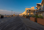 Asbury Park, NJ, USA -- July 21, 2017--The Asbury Park boardwalk  in the glow of an early summer morning. Editorial Use Only