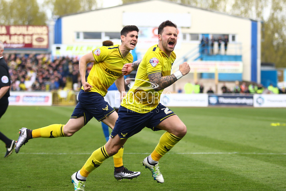 Oxford forward Chris Maguire Celebrates the opening goal during the Sky Bet League 2 match between Carlisle United and Oxford United at Brunton Park, Carlisle, England on 30 April 2016. Photo by Craig McAllister.