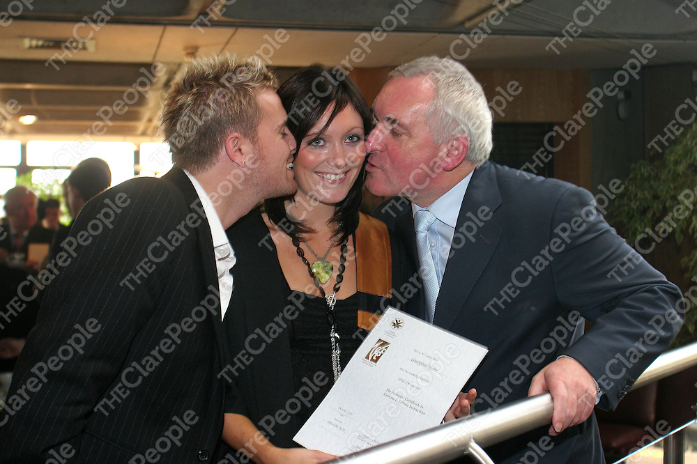 15.10.05.<br /> Presenting National Certificates in Exercise and Fitness, (NCEF) in Limerick An Taoiseach, Mr. Bertie Ahern, T.D., urged Irish people to be more active in their lives. Also graduating at the ceremony was An Taoiseachs, Mr. Bertie Aherns daughter Georgina Byrne who received a National Cert in Exercise and Fitness. Georgina is pictured being congradualted buy her husband Nicky Byrne, Westlife and her father after the ceremony in the University of Limerick. Picture: Alan Place/Press 22.