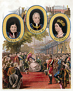 Great Exhibition, Crystal Palace, London. Queen Victoria opening exhibition 1 May 1851. At top are portraits of Victoria and of the two uncles who reigned before her, George IV and William IV. Lithograph.