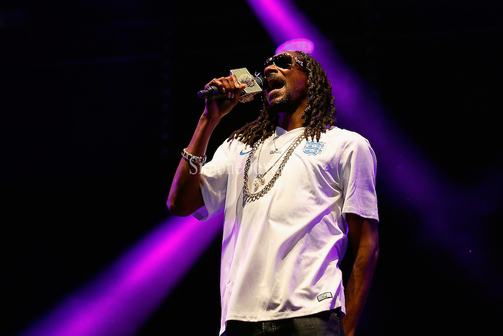 Snoop Dogg performs live on the Main Stage during day two of Lovebox Festival 2015 at Victoria Park on July 18, 2015 in London, England.  (Photo by Simone Joyner)