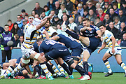 Sale Sharks Will Cliff clears during the Gallagher Premiership Rugby match between Sale Sharks and Worcester Warriors at the AJ Bell Stadium, Eccles, United Kingdom on 9 September 2018.