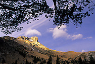 Castle Reef from Wagner Basin on a  windy day. Sun River Canyon in the Rocky Mountain Front. West of Augusta, Montana