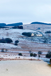 © Licensed to London News Pictures. 03/04/2019. Builth Wells, Powys, Wales, UK. Overnight temperatures drop to minus 1.5 degrees C and a light dusting of snow falls on high land in Powys, Wales, UK.  Photo credit: Graham M. Lawrence/LNP