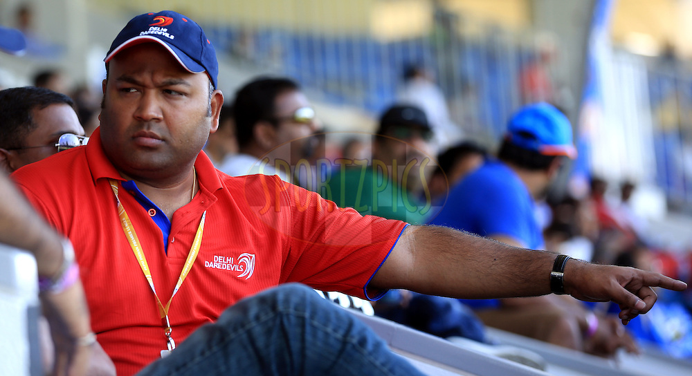 Kiran Grandhi owner of Delhi Daredevils during match 16 of the Pepsi Indian Premier League 2014 between the Delhi Daredevils and the Mumbai Indians held at the Sharjah Cricket Stadium, Sharjah, United Arab Emirates on the 27th April 2014<br /> <br /> Photo by Sandeep Shetty / IPL / SPORTZPICS