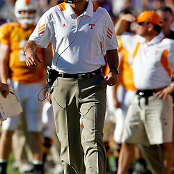 Oct 2, 2010; Baton Rouge, LA, USA; Tennessee Volunteers head coach Derek Dooley on the sideline during the second half against the LSU Tigers at Tiger Stadium. LSU defeated Tennessee 16-14.  Mandatory Credit: Derick E. Hingle
