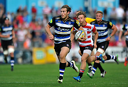 Max Clark of Bath Rugby runs in a try - Mandatory byline: Patrick Khachfe/JMP - 07966 386802 - 13/09/2015 - RUGBY UNION - Memorial Stadium - Bristol, England - Gloucester Rugby v Bath Rugby - West Country Challenge Cup.