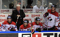 Head Coach Ken Hitchcock, sitting Dany Heatley (15) of Canada, Martin St.Louis (26) of Canada, Rick Nash (61) of Canada and Eric Staal (12) of Canada at  ice-hockey game Canada vs Russia at finals of IIHF WC 2008 in Quebec City,  on May 18, 2008, in Colisee Pepsi, Quebec City, Quebec, Canada. Win of Russia 5:4 and Russians are now World Champions 2008. (Photo by Vid Ponikvar / Sportal Images)
