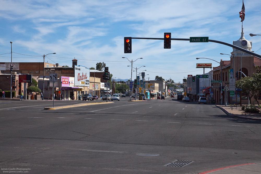 The southern end of historic US Route 89 at the Mexican border in Nogales, Arizona