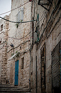 Narrow, windy streets in the Christian Quarter of the the Old City of Jerusalem.