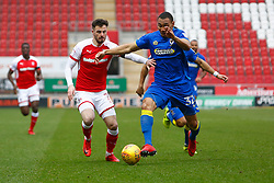 Darius Charles of AFC Wimbledon holds off Anthony Forde of Rotherham United - Mandatory by-line: Ryan Crockett/JMP - 03/02/2018 - FOOTBALL - Aesseal New York Stadium - Rotherham, England - Rotherham United v AFC Wimbledon - Sky Bet League One