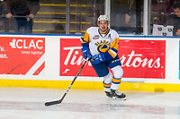 KELOWNA, BC - DECEMBER 01: Dawson Davidson #4 of the Saskatoon Blades looks at the jumbotron during warm up against the Kelowna Rockets at Prospera Place on December 1, 2018 in Kelowna, Canada. (Photo by Marissa Baecker/Getty Images)