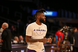 February 27, 2019 - Los Angeles, CA, U.S. - LOS ANGELES, CA - FEBRUARY 27: Los Angeles Lakers Guard Reggie Bullock (35) before the New Orleans Pelicans versus Los Angeles Lakers game on February 27, 2019, at Staples Center in Los Angeles, CA. (Photo by Icon Sportswire) (Credit Image: © Icon Sportswire/Icon SMI via ZUMA Press)