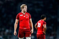 England replacement Joe Launchbury looks on - Mandatory byline: Rogan Thomson/JMP - 07966 386802 - 18/09/2015 - RUGBY UNION - Twickenham Stadium - London, England - England v Fiji - Rugby World Cup 2015 Pool A.