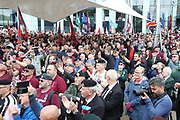 The mass crowds during the Soldier F Protest at Media City, Salford, United Kingdom on 18 May 2019.