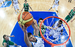 Antonios Fotsis of Greece vs Domen Lorbek (13) of Slovenia during the EuroBasket 2009 3rd place match between Slovenia and Greece, on September 20, 2009, in Arena Spodek, Katowice, Poland.   (Photo by Vid Ponikvar / Sportida)