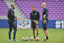 October 5, 2017 - Orlando, FL, USA - Orlando, FL, Thursday, October 5, 2017: Tim Howard, Nick Rimando, and Brad Guzan during practice before a World Cup Qualifying match with Panama, at Orlando City Stadium. (Credit Image: © John Todd/ISIPhotos via ZUMA Wire)