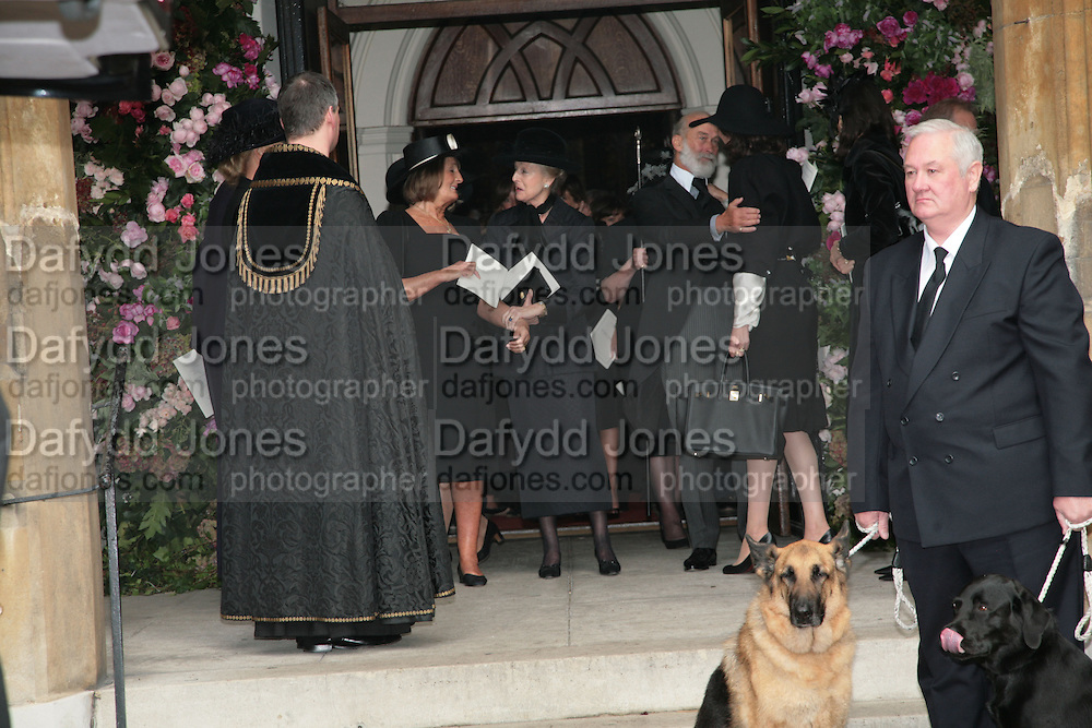 Mark Birley's  dogs, black labrador George and Alsatian Tara Mark Birley funeral. St Paul's , Knightsbridge. London. 19 September 2007. -DO NOT ARCHIVE-© Copyright Photograph by Dafydd Jones. 248 Clapham Rd. London SW9 0PZ. Tel 0207 820 0771. www.dafjones.com.