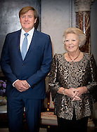 8-12-2016 AMSTERDAM - King Willem Alexander and Queen Maxima and princess Beatrix , Patron of the Foundation, has, Thursday December 8, 2016 presented at the Royal Palace in Amsterdam, the Erasmus Prize from the British writer A.S. Byatt. The prize this year has the theme 'Life Writing' includes a hot topic within the literature, biographies, autobiographies and historical novels. COPYRIGHT ROBIN UTRECHT<br /> <br /> 8-12-2016 AMSTERDAM - Koning Willem Alexander en koningin Maxima , Regent van de Stichting Praemium Erasmianum, reikt donderdagmiddag 8 december 2016 in het Koninklijk Paleis Amsterdam de Erasmusprijs uit aan de Britse schrijfster A.S. Byatt. De Erasmusprijs heeft dit jaar als thema &lsquo;Life Writing&rsquo;, een actueel onderwerp binnen de literatuur dat biografie&euml;n, autobiografie&euml;n en historische romans omvat. COPYRIGHT ROBIN UTRECHT