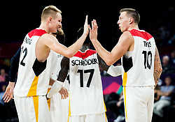 Robin Benzing of Germany and Daniel Theis of Germany celebrate during basketball match between National Teams of Germany and France at Day 10 in Round of 16 of the FIBA EuroBasket 2017 at Sinan Erdem Dome in Istanbul, Turkey on September 9, 2017. Photo by Vid Ponikvar / Sportida