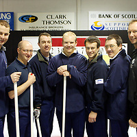 The Scottish Curling team pictured during a training session at the Dewars Ice Arena in Perth, from left, Peter Loudon, Derek Brown coach, Norman Brown, Ewan MacDonald, Warwick Smith, Hammy McMillanand Mike Hay Coach<br />
