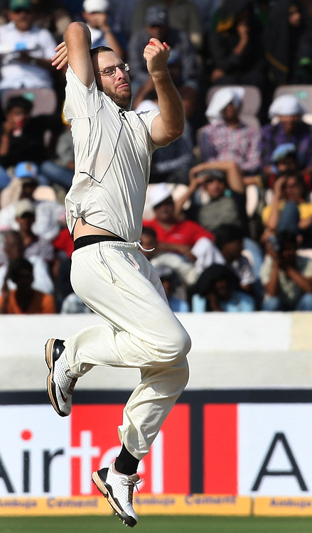 New Zealand Captain Daniel Vettori In Bowling Action Against India During The 2nd Test Match India vs New Zealand Played at Rajiv Gandhi International Stadium, Uppal, Hyderabad 13, November 2010 (5-day match)