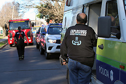 August 31, 2017 - Buenos Aires, Buenos Aires, Argentina - In the district of 3 de Febrero, 28 bomb threats were registered during the month of August, only in three secondary schools of El Palomar and Martin Coronado. Police and firefighters were looking for explosives at a high school this afternoon for the third time in the same week. There is a judicial investigation underway. (Credit Image: © Claudio Santisteban via ZUMA Wire)