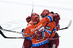 Team HK Acroni Jesenice celebrate goal during ice-hockey match between HK Acroni Jesenice and HDD Tilia Olimpija in fourth game of Final at Slovenian National League, on April 8, 2011 at Dvorana Podmezaklja, Jesenice, Slovenia. (Photo By Matic Klansek Velej / Sportida.com)