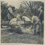 Preparing lunch, boys from St. Joseph's College on a trip to ruined cities about 1947<br /> from the Tony Peries Collection.