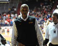 "LSU head coach Trent Johnson leaves the court after being ejected against Mississippi in NCAA college basketball at the C.M. ""Tad"" Smith Coliseum in Oxford, Miss. on Saturday, February 25, 2012. Ole Miss won 72-48.."