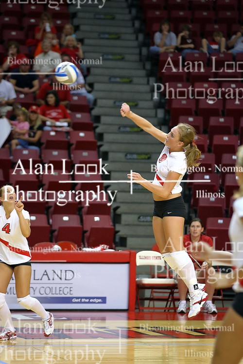 18 AUG 2007: Katie Culbertson takes a powerful strike. The Illinois State Redbirds, picked for 5th in the pre-season Missouri Valley Conference coaches poll, prepare for the beginning of the season during the annual Red/White inter-squad scrimmage at Redbird Arena in Normal Illinois.
