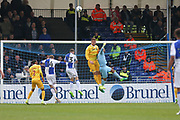 Millwall goalkeeper Jordan Archer(1) punches clear a Bristol Rovers attack during the EFL Sky Bet League 1 match between Bristol Rovers and Millwall at the Memorial Stadium, Bristol, England on 30 April 2017. Photo by Shane Healey.