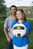 Engagement picture, couple with a soccer ball, Longmont