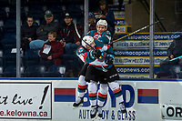 KELOWNA, CANADA - MARCH 13: Michael Farren #16 and Conner Bruggen-Cate #20 of the Kelowna Rockets take part in a pre-game ritual against the Spokane Chiefs  on March 13, 2019 at Prospera Place in Kelowna, British Columbia, Canada.  (Photo by Marissa Baecker/Shoot the Breeze)
