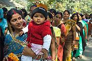 Hindu pilgrims queue to visit Vishwanatha Temple (Birla Temple) during Festival of Shivaratri in holy city of Varanasi, India