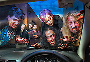Live action game 'IRL Shooter' is a real-life game in the style of console games, involves people dressed as viral zombies shooting each other in a 'game' environment which will take place in an old warehouse in Melbourne. Left to Right Pic By Craig Sillitoe CSZ / The Sunday Age.14/07/2012  Pic By Craig Sillitoe CSZ / The Sunday Age melbourne photographers, commercial photographers, industrial photographers, corporate photographer, architectural photographers, This photograph can be used for non commercial uses with attribution. Credit: Craig Sillitoe Photography / http://www.csillitoe.com<br />