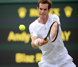 © Licensed to London News Pictures. 25/06/2014. LONDON, UK Wimbledon Tennis Championships 2014<br /> Day 3. Andrew Murray, GBR during his victory over Blaz Rola, SLO.  Photo credit : Mike King/LNP