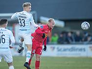 FODBOLD: Søren Henriksen (FC Helsingør) vinder duel med Mikkel Rygaard (FC Nordsjælland) under kampen i ALKA Superligaen mellem FC Helsingør og FC Nordsjælland den 18. marts 2018 på Helsingør Stadion. Foto: Claus Birch.